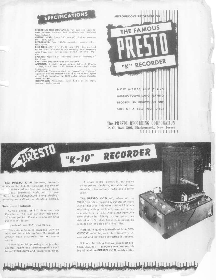 Ad for the Presto K-10